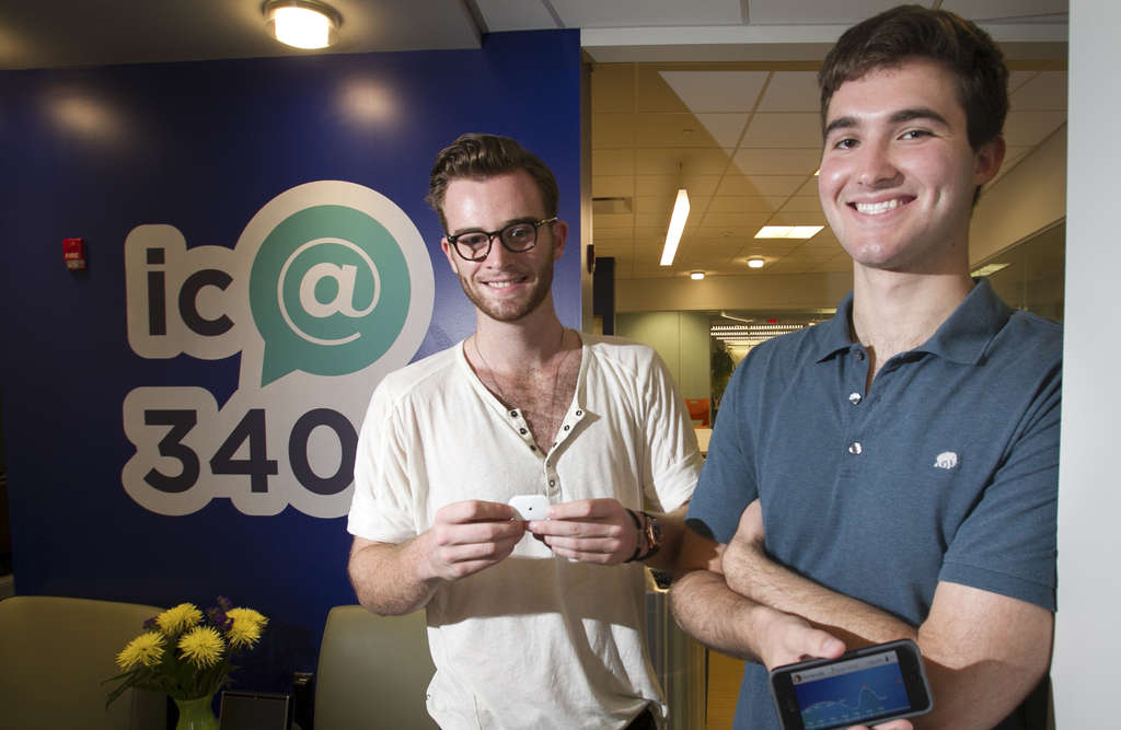 ALEJANDRO A. ALVAREZ / STAFF PHOTOGRAPHER Aaron Goldstein (right), CEO of Fever Smart, co-founded an app with Collin Hill to continuously track children´s temperatures. The idea arose after Hill was diagnosed with a type of blood cancer.
