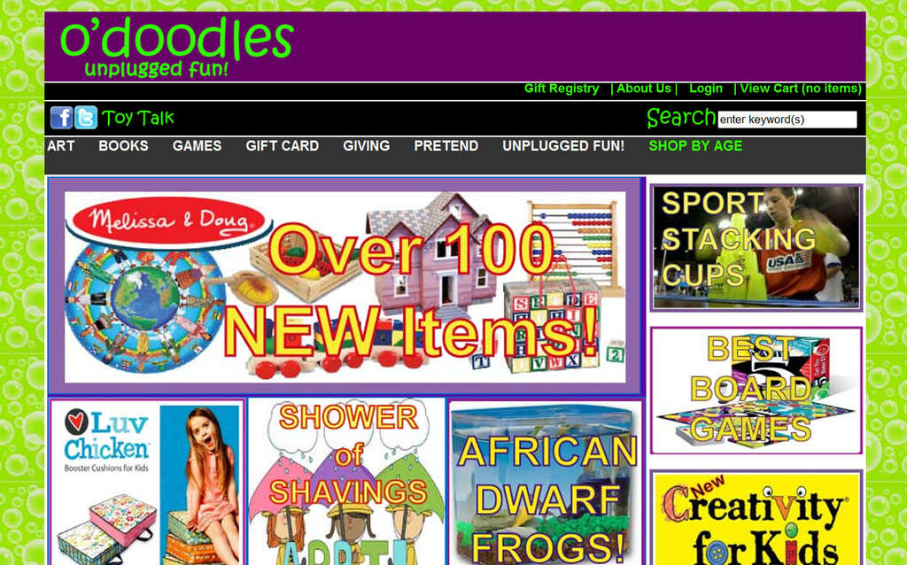 The O´Doodles store website. The Chestnut Hill icon is going out of business.
