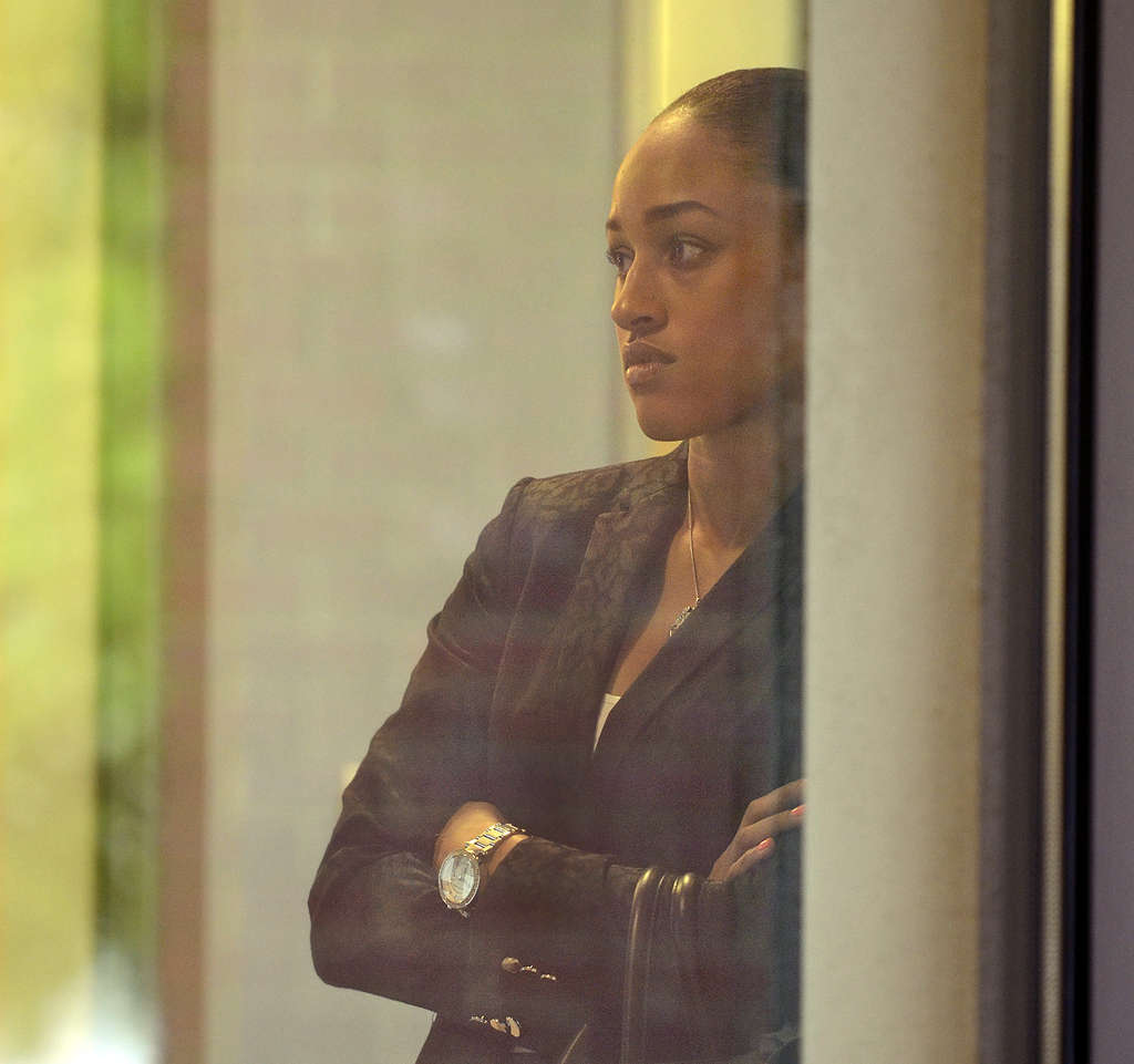 TOM GRALISH / STAFF PHOTOGRAPHER Remarks from Janay Rice, shown outside of Mays Landing, N.J., courtroom in May, have all the hallmarks of a woman who is fearful of leaving her abusive husband.