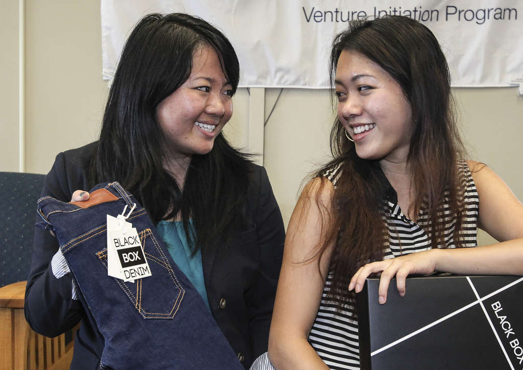 STEVEN M. FALK / STAFF PHOTOGRAPHER Adina Luo (left) and Molly Liu met as freshmen at Penn and started Black Box Denim. which makes custom jeans you can order online.
