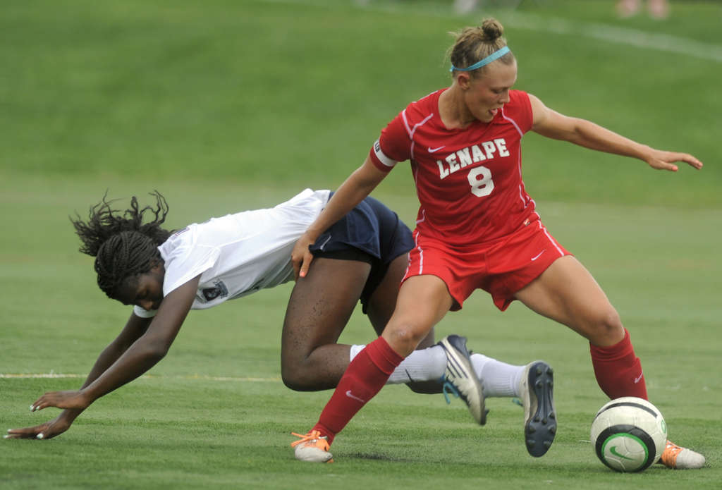 Lenape´s Lizzie Kinkler has the ball in front of Amirah Ali of Eastern during Thursday´s 2-1 Lenape win. Eastern entered the game ranked No. 1, Lenape No. 2. TOM GRALISH / Staff