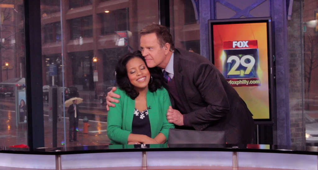 """Mike Jerrick gives Sheinelle Jones a goodbye squeeze as she leaves """"Good Day Philadelphia"""" in March. She´s joining """"Today"""" Oct. 4."""