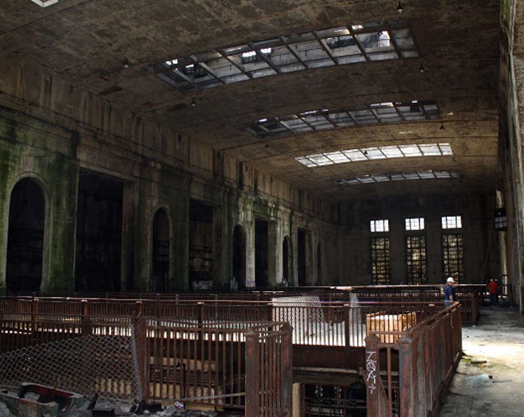 The interior of the Delaware Station, though badly in disrepair, has plenty of space and a grandeur that would make it suitable as a museum, especially for large-scale displays.