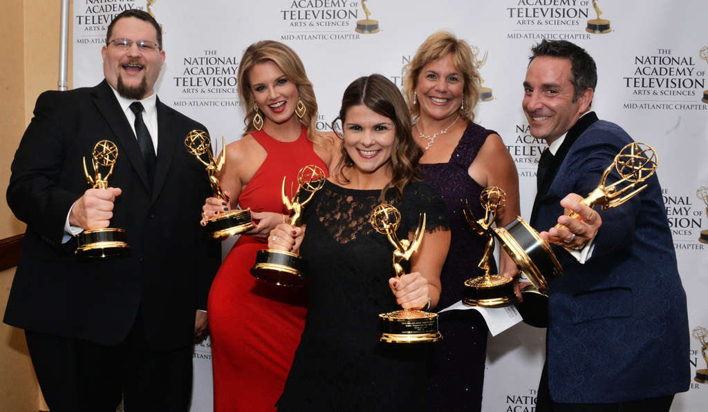 "HUGHE DILLON NBC10 Emmy winners for ""Going for Gold"" (from left): Michael Hurst, Jillian Mele, Leigh Pullekines, Danielle Soyka and Matthew Maiorano."