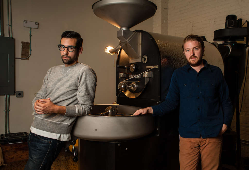 MATTHEW HALL / STAFF PHOTOGRAPHER Mark Corpus (left) and Mark Capriotti, both of Fishtown, are the duo behind ReAnimator Coffee, a Kensington-based specialty-coffee roaster that has a new 2,000-square-foot roastery and cafe.