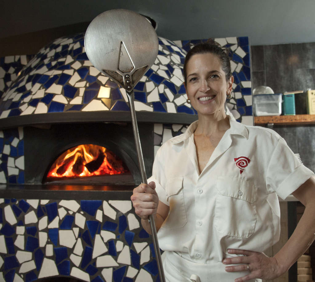 Stephanie Reitano at her pizza oven at Capofitto, 233 Chestnut St.