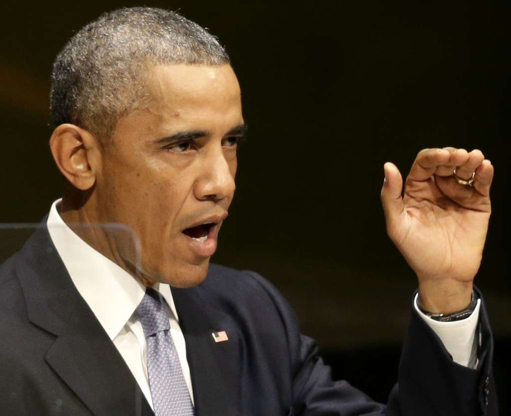 """President Obama speaks to the U.N. General Assembly in New York on Wednesday. He urged world leaders to reject """"the cancer of violent extremism."""""""
