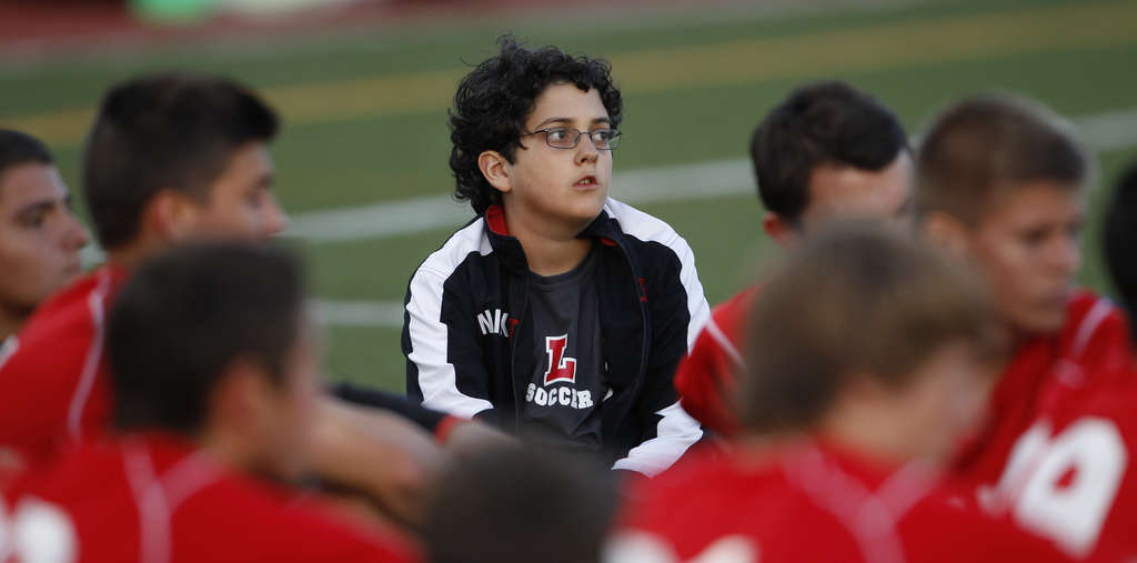 "Zach Osmun, 13, has been ""adopted "" by Lenape boys´ soccer team members. This year, he wrote them an inspiring letter.    RON CORTES / Staff"