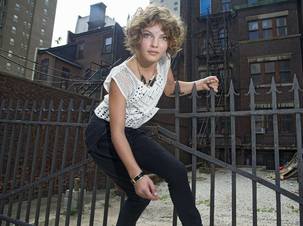 "Camren Bicondova, 15, posing here on Sansom Street, portrays Selina Kyle - who grows up to be Catwoman - in ""Gotham."""