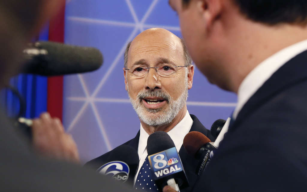 KEITH SRAKOCIC / ASSOCIATED PRESS Tom Wolf answers questions after a debate with Gov. Corbett in Wilkinsburg, Pa., last week.