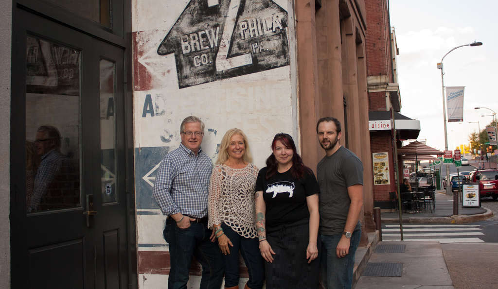 One story below the 2nd Story are (from left) Ken Merriman, owner Debbie Grady, head chef Rebecca Krebs and brewmaster John Wible.