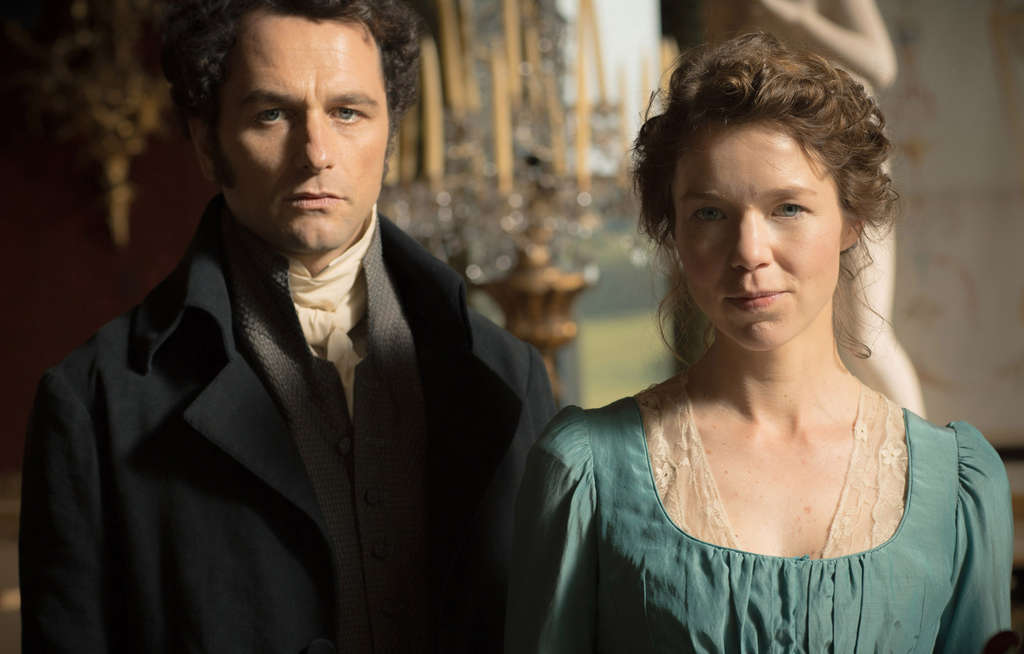 """Matthew Rhysand Anna Maxwell Martin in """"Death Comes to Pemberley."""""""