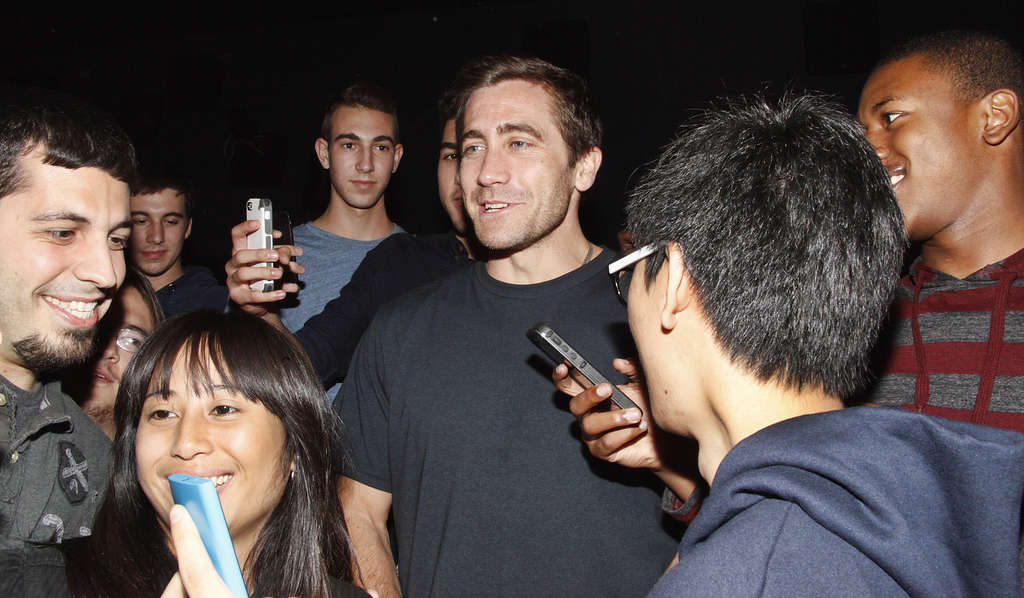 """Jake Gyllenhaal drops in at a screening of his new movie """"Nightcrawler"""" at the Rave theater in University City."""