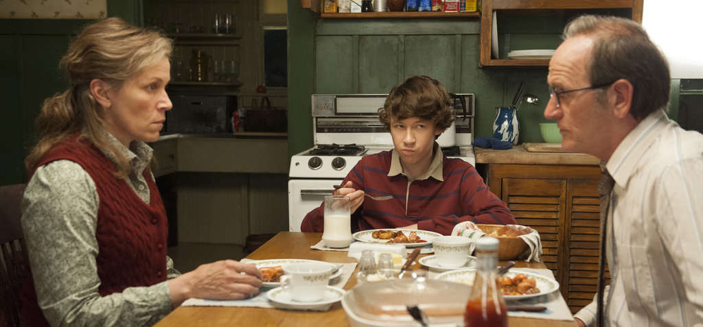 """Frances McDormand plays the crusty title character in HBO´s """"Olive Kitteridge,"""" with Devin McKenzie Druid (center) and Richard Jenkins as her sunny husband."""