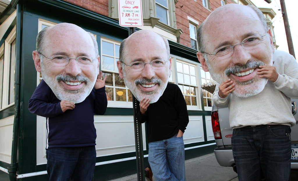 DAVID MAIALETTI / STAFF PHOTOGRAPHER As if two Toms in this guv race weren´t enough, three - all of the Wolf variety - were spotted outside Famous 4th Street Deli yesterday.