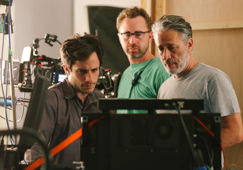 "Gael García Bernal (left), star of ""Rosewater,"" cameraman Michael Burke, and writer-director Jon Stewart on the set in Jordan."