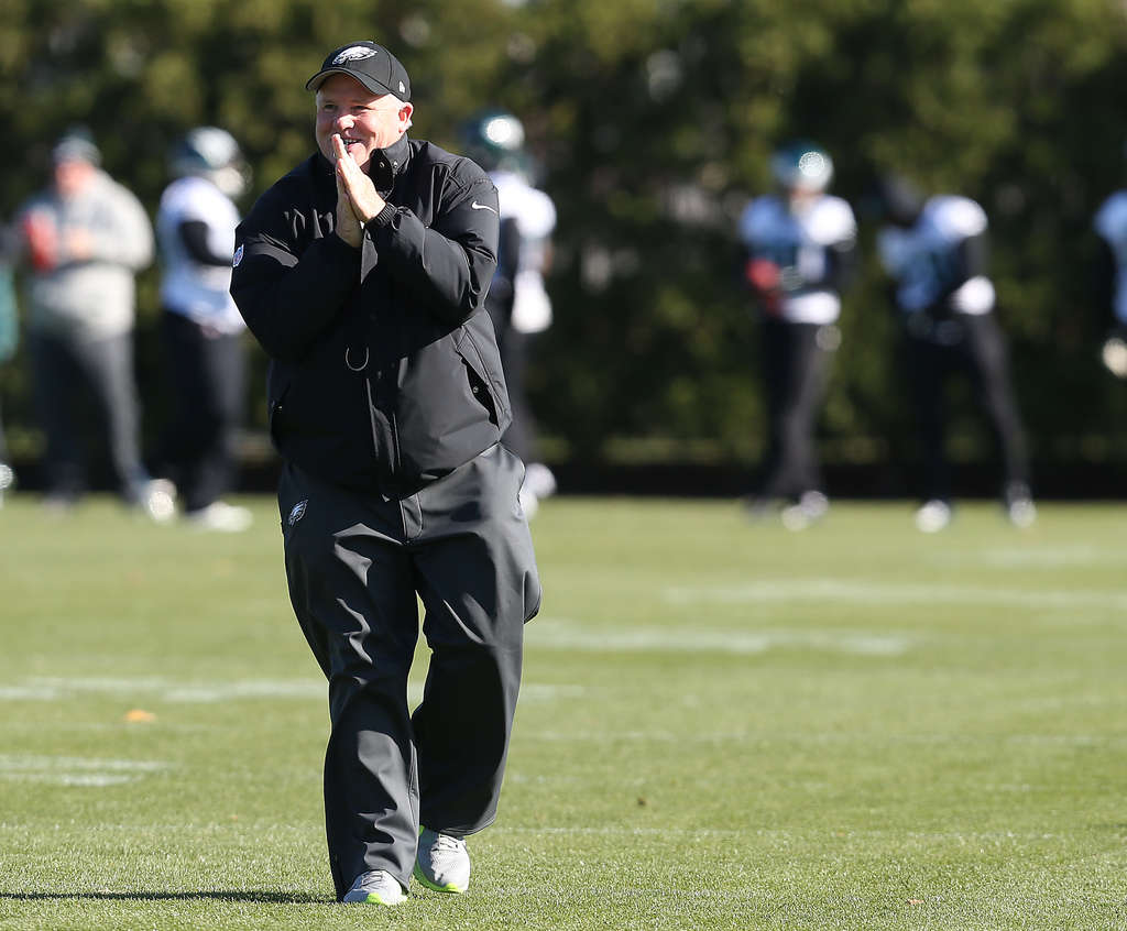 DAVID MAIALETTI / STAFF PHOTOGRAPHER Chip Kelly warms up his hands during yesterday´s practice at the NovaCare Center.