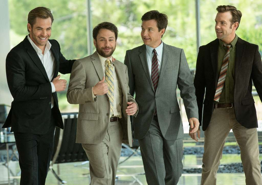 "Self-employed and horrible: In ""Horrible Bosses 2"" are (from left) Chris Pine, Charlie Day, Jason Bateman, and Jason Sudeikis. Returning in strained support are Kevin Spacey, Jamie Foxx, and Jennifer Aniston (in a demeaningly raunchy role), and Christoph Waltz glides in as a corporate shark."