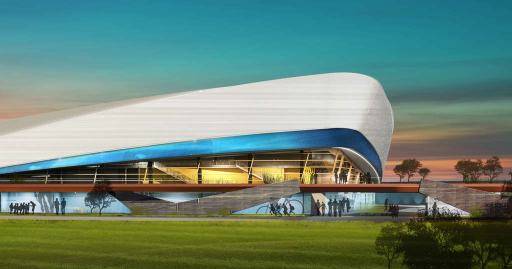 The proposed velodrome as seen from FDR Park, in a rendering. Developers say the facilities would often be available for public use.