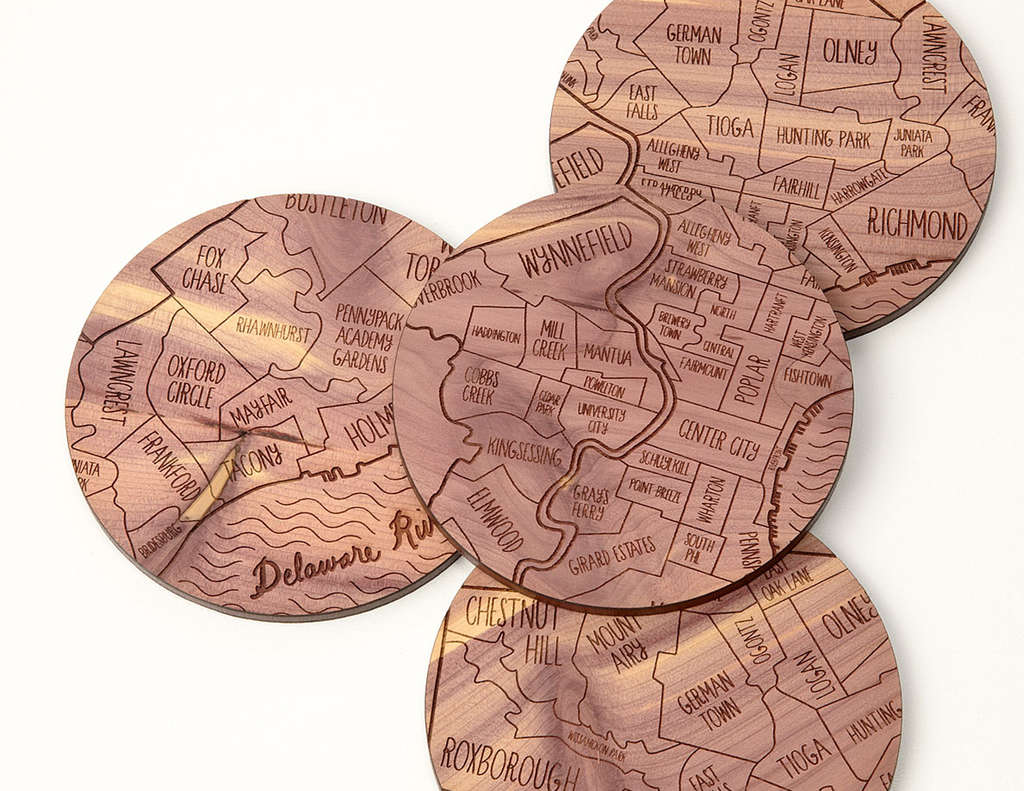 Neighborhood map coasters from Uncommon Goods.