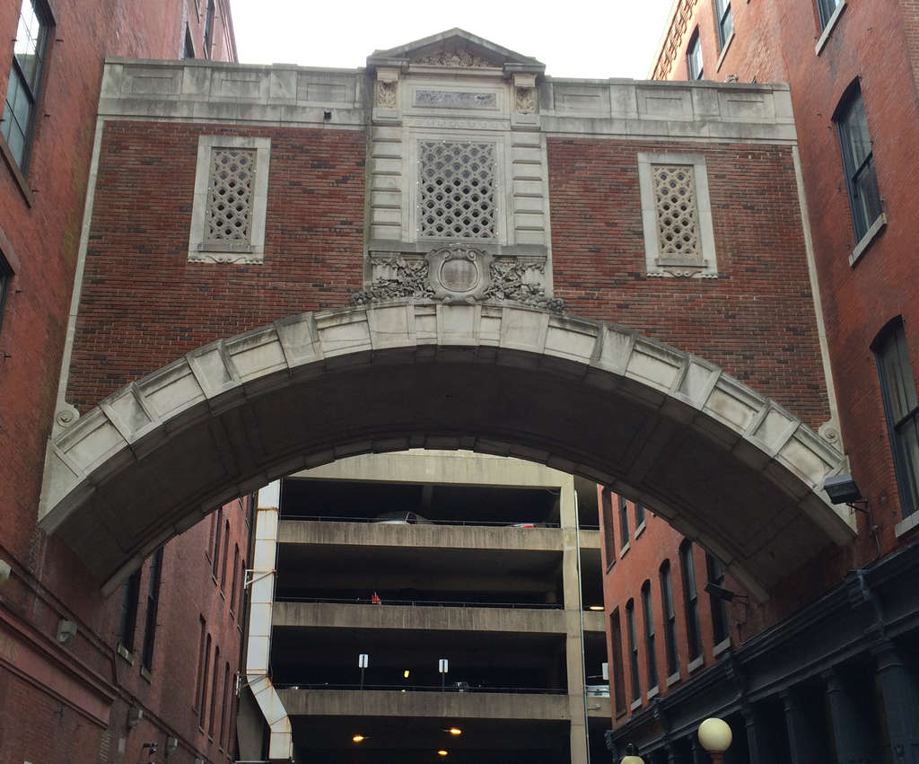 The sky bridge off the Lit Brothers building at 8th and Filbert Streets.