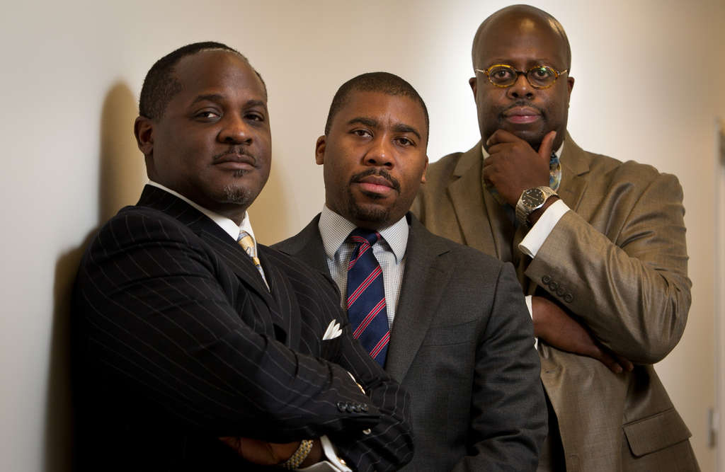 The Rev. Damone B. Jones Sr. (from left), Howard Brown and Chad Dion Lassiter counseled rapper Meek Mill while he was incarcerated.