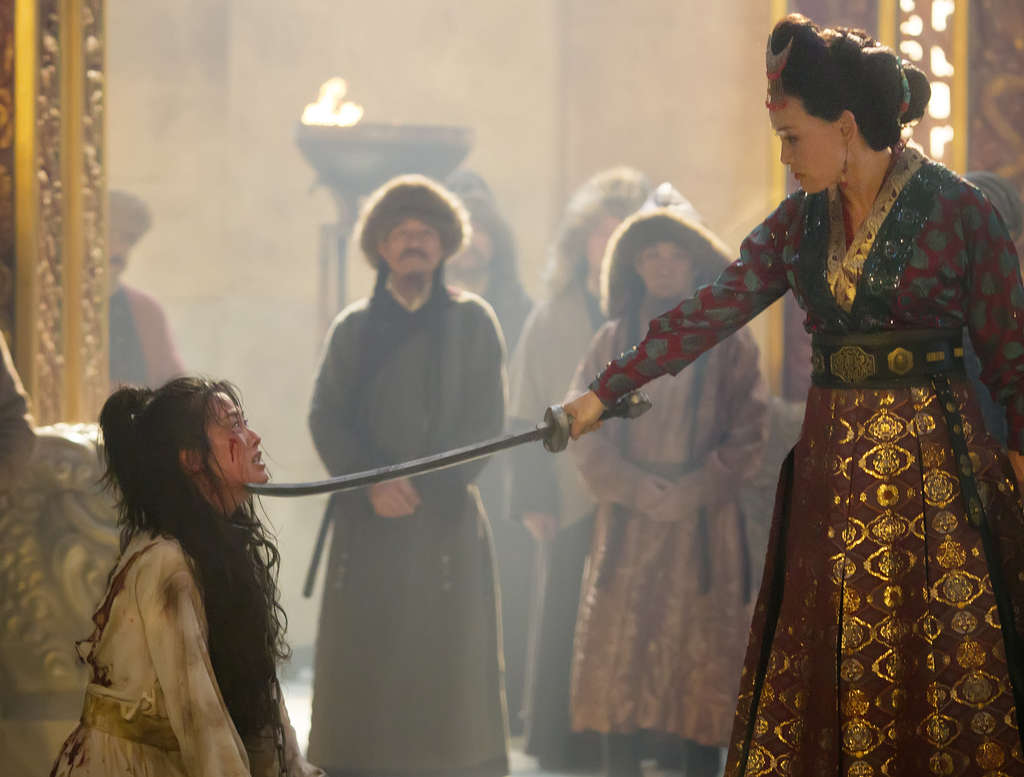 "Olivia Cheng and Joan Chen (right) in a scene from ""Marco Polo."""