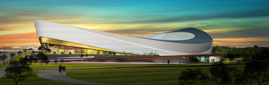 Proposed indoor-cycling arena, in a rendering. The design looks good, but arenas are a highly specialized form of building, and the architects have never designed one.