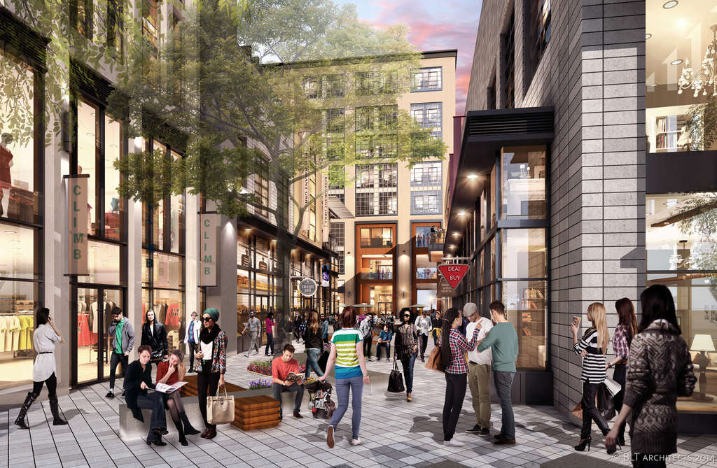 Chestnut Walk will be a new pedestrian passage at mid-block. The project will ultimately encompass the entire four-acre block, from Market to Chestnut, between 11th and 12th Sts.