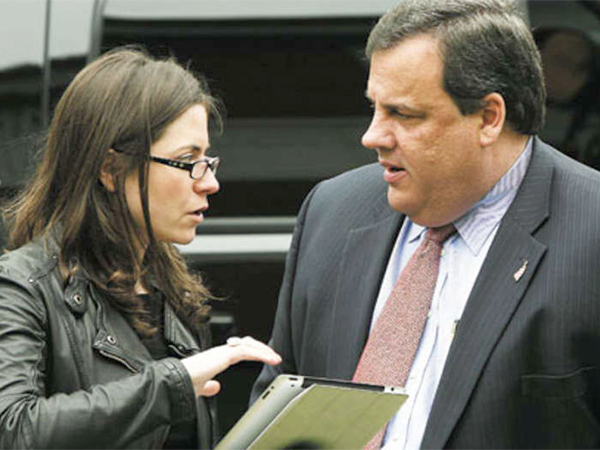 Maria Comella, communications director, with Gov. Chris Christie. Comella is among the 20 people and organizations subpoenaed in a widening traffic-jam scandal that has shaken Christie´s administration.