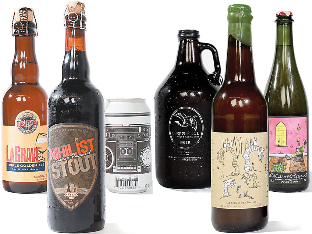 The winners of 2014 Brew-vitational. From left, the top three new beers are Nihilist Russian Imperial Stout, Sly Fox Brewing Co.; LaGrave Triple Golden Ale, Tröegs Brewing Co.; and Fear of a Brett Planet Pale Ale, Round Guys Brewing Co. Next are the top saisons (from left): Handfarm Chardonnay Barrel-Aged Saison, Tired Hands Brewing Co.;  Saison Wood, Iron Hill Brewery and Restaurant (Maple Shade); and Solaire Grisette/Saison, Forest & Main Brewing Co.