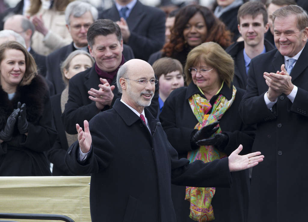 CHARLES FOX / STAFF PHOTOGRAPHER Gov. Wolf had a picture-perfect Inauguration Day but quickly fell into a partisan spat.