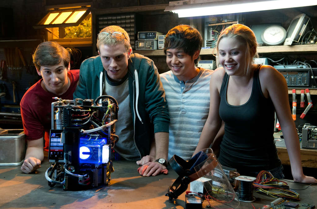 "The ""Project Almanac"" cast (from left) Sam Lerner, Jonny Weston, Allen Evangelista, and Virginia Gardner."