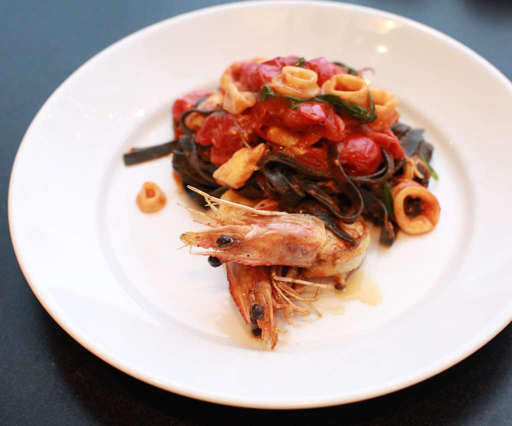 The squid ink pasta with seafood at Ardé Osteria & Pizzeria.