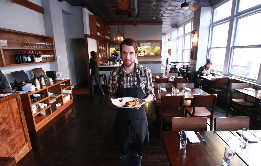 Aldine chef-owner George Sabatino, 33, worked at Stateside and Morgan´s Pier, where he kept a notebook with plans for future recipes that he´s trying now.
