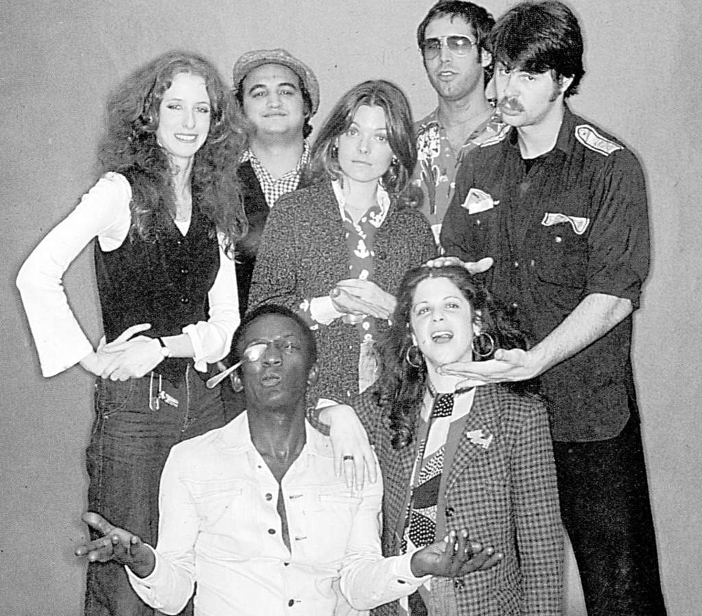 "The original ""Saturday Night Live"" cast: (from left) Garrett Morris and Gilda Radner (front) with Laraine Newman, John Belushi, Jane Curtin, Chevy Chase, and Dan Aykroyd."