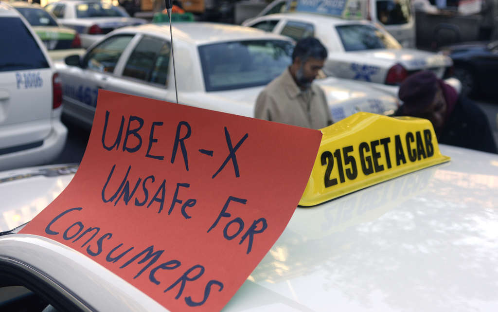 TOM GRALISH / STAFF PHOTOGRAPHER The city´s taxi drivers staged staunch protests when UberX first came to town in October.