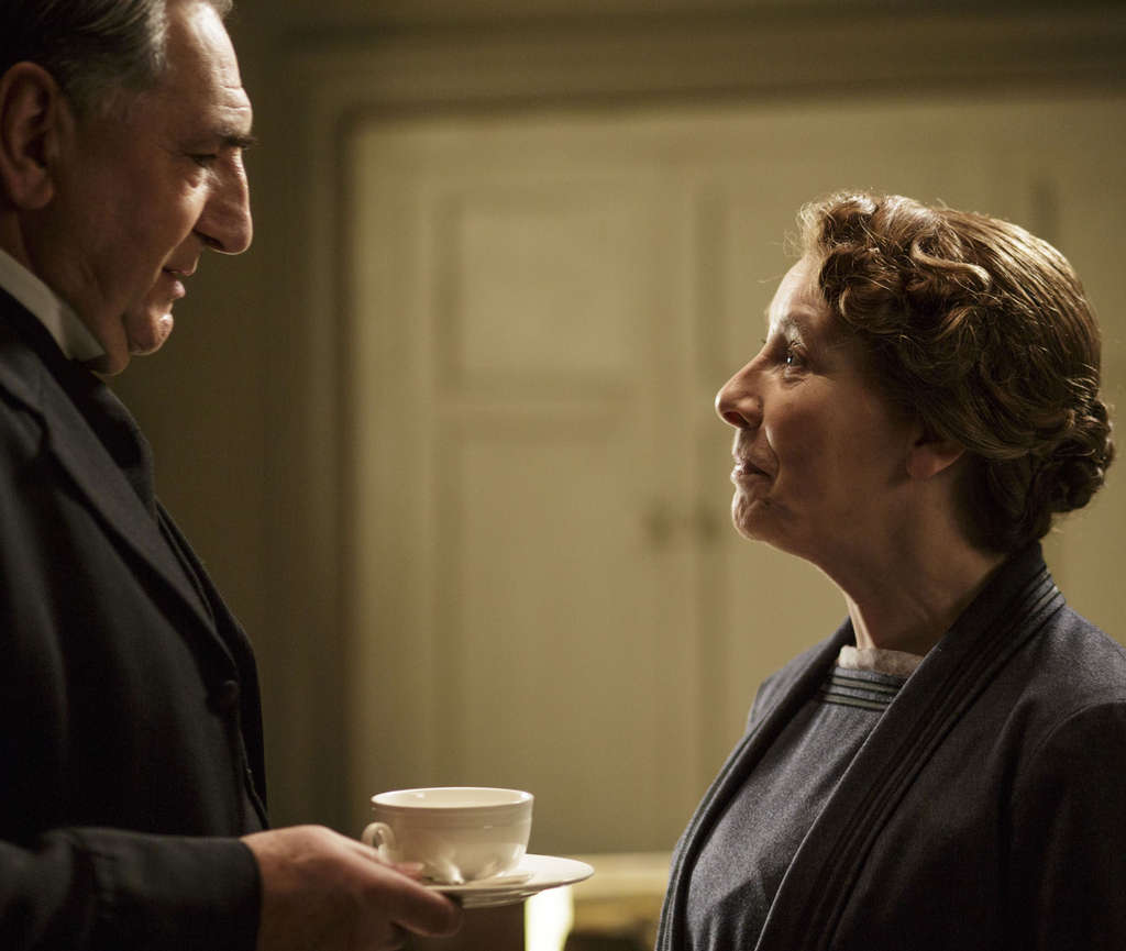 "Jim Carter and Phyllis Logan star in ""Downton Abbey."""
