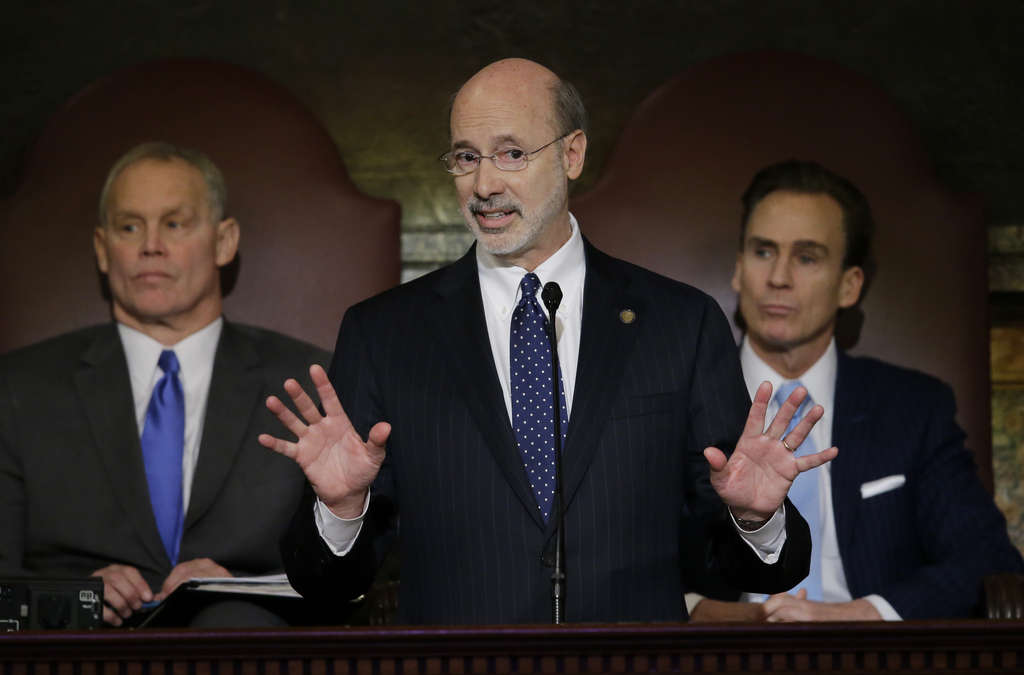 "MATT ROURKE / ASSOCIATED PRESS Gov. Wolf delivers his budget address yesterday for the 2015-16 fiscal year. Mayor Nutter called it a ""great budget,"" but Republicans who run the Legislature aren´t interested in liftoff."