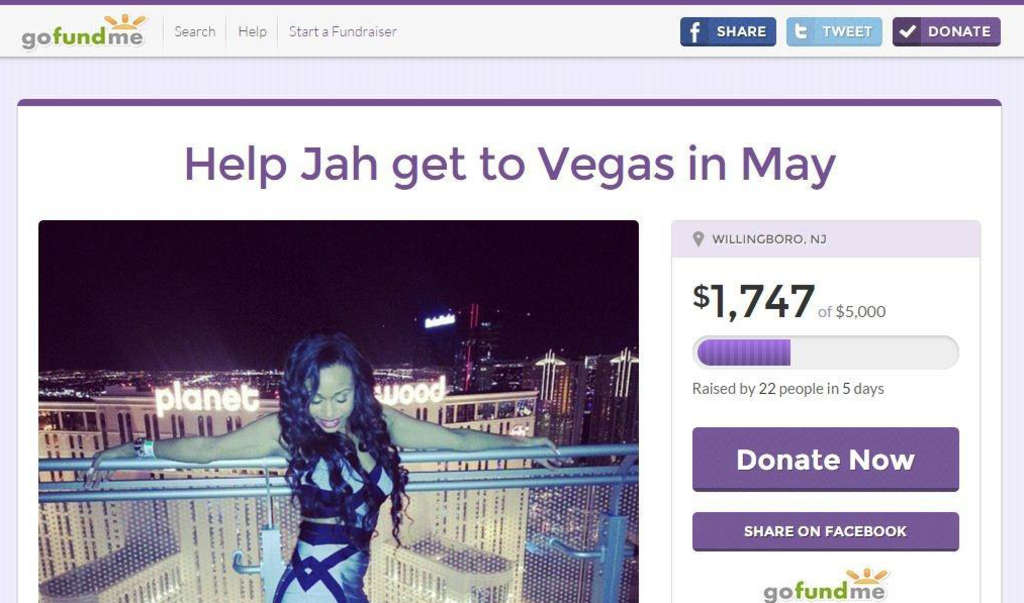 "Jameelah Kareem, 30, says on her GoFundMe page: ""I´m cute. I like free money. You donating or naw? Lol!"""