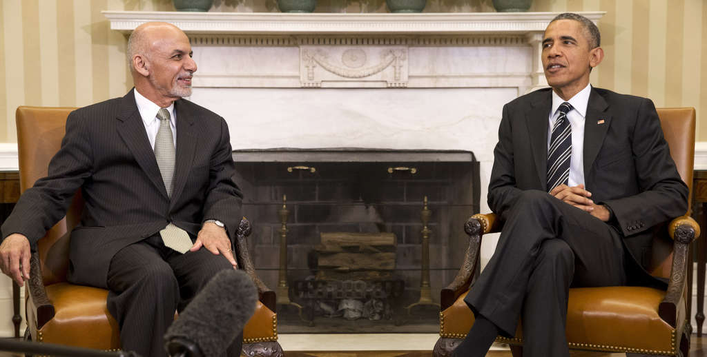 President Obama with Afghanistan President Ashraf Ghani in the Oval Office.