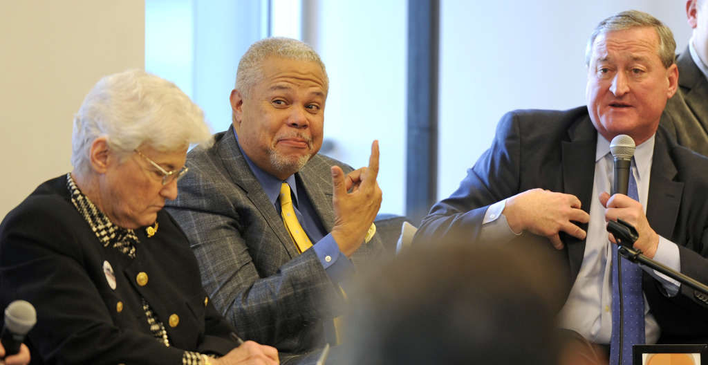 PHOTOS: TOM GRALISH / STAFF PHOTOGRAPHER We had to wonder: Were (from left) Lynne Abraham, Anthony Hardy Williams or Jim Kenney packing heat at a mayoral forum last month?