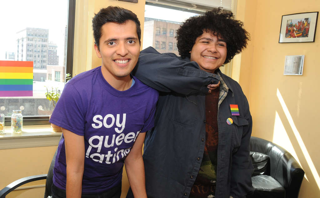 CLEM MURRAY / STAFF PHOTOGRAPHER Francisco Zavala Cortes (left), youth coordinator of GALAEI, with Emmanuel Coreano, a member of the organization.