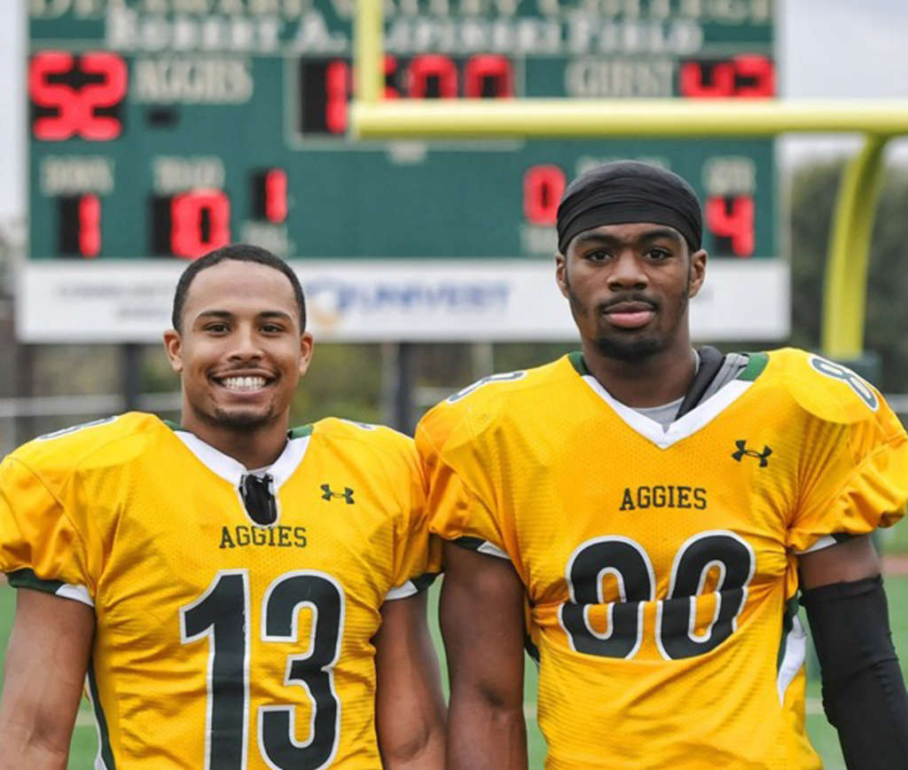 Aaron Wilmer (left) and Rasheed Bailey of Delaware Valley will work out for the Eagles. Wilmer went to Washington, and Bailey attended Roxborough. Delaware Valley College