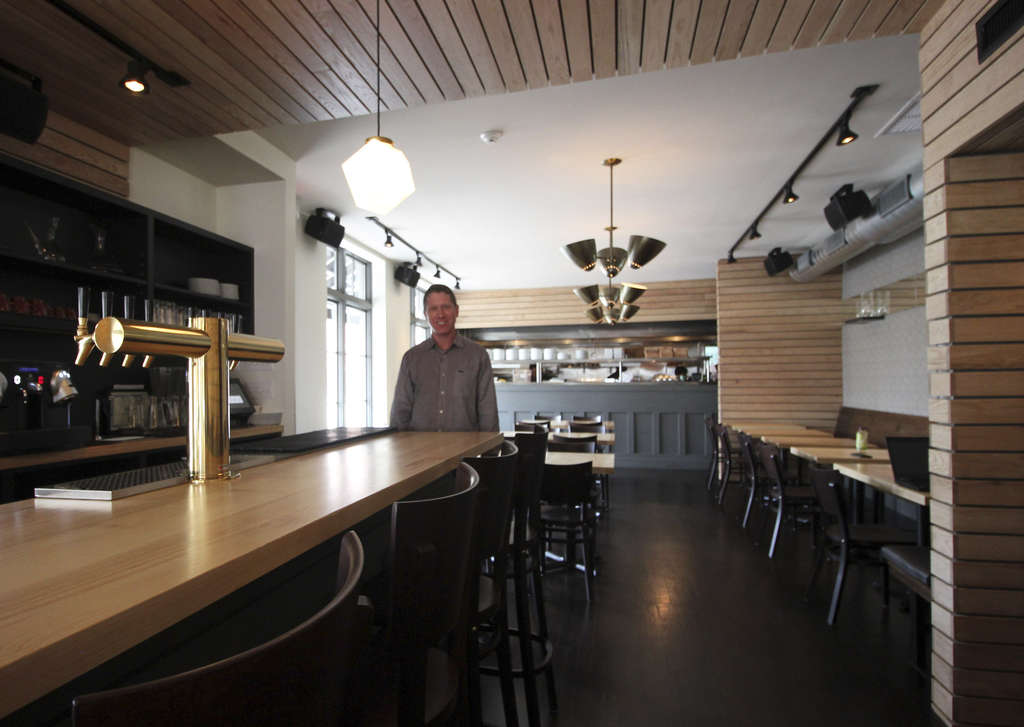 Co-owner Jon Myerow in the dining room at Tria Fitler Square, the company´s fourth location, which just opened at 23d and Pine Streets.