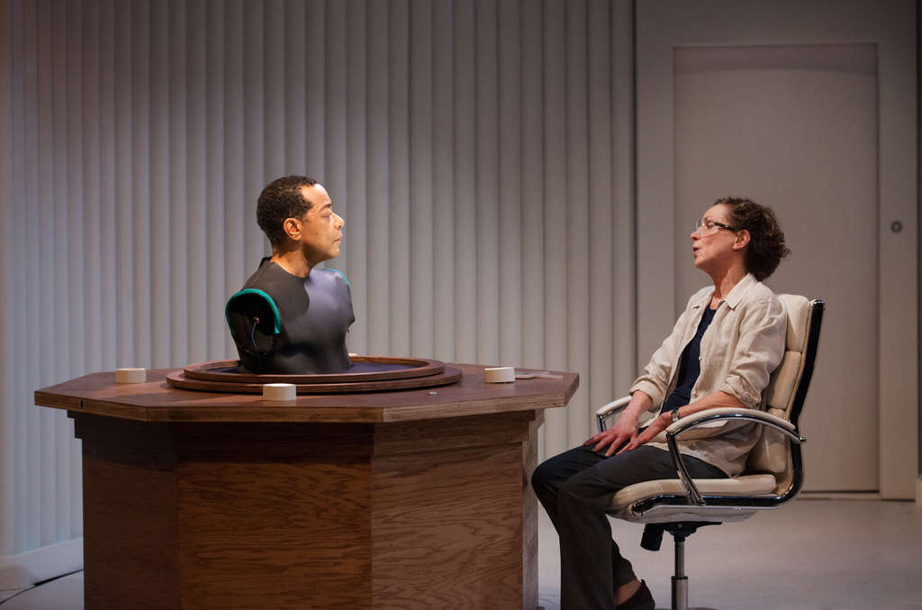 "Frank X and Sally Mercer in InterAct Theatre´s ""Uncanny Valley,"" which opened Wednesday at the Adrienne."