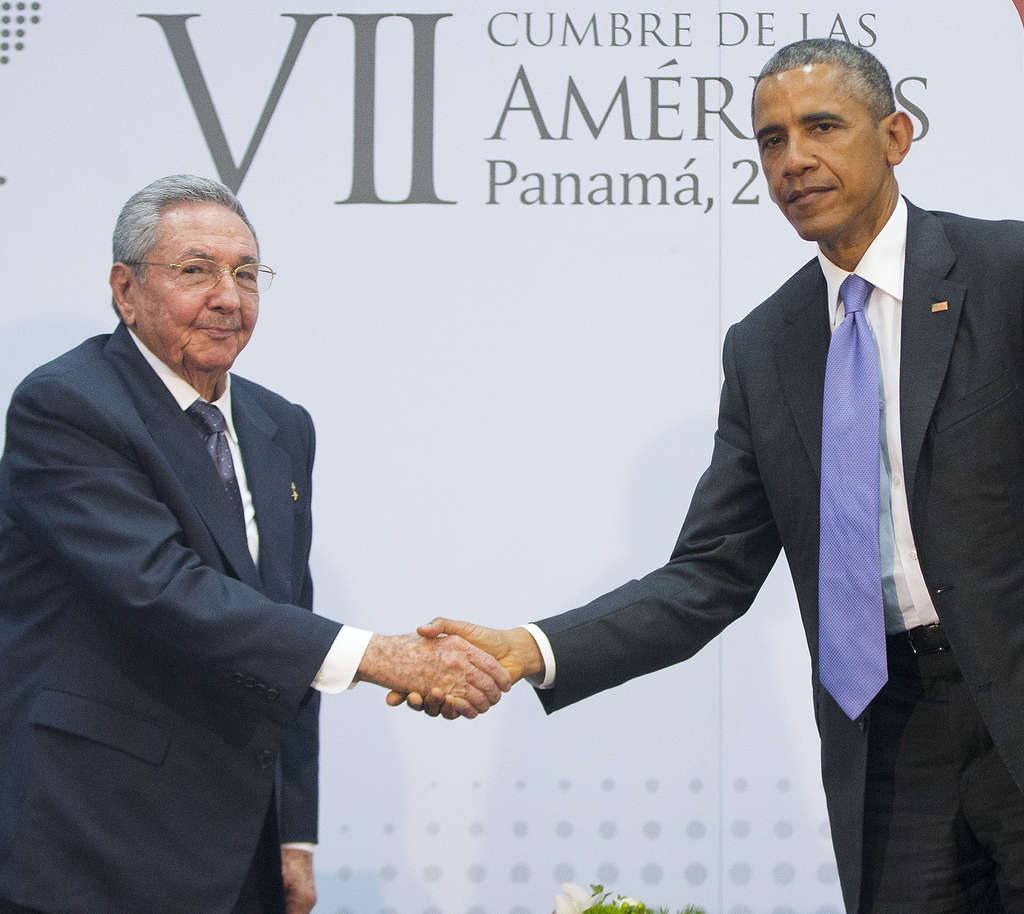 Raul Castro and President Obama in Panama.