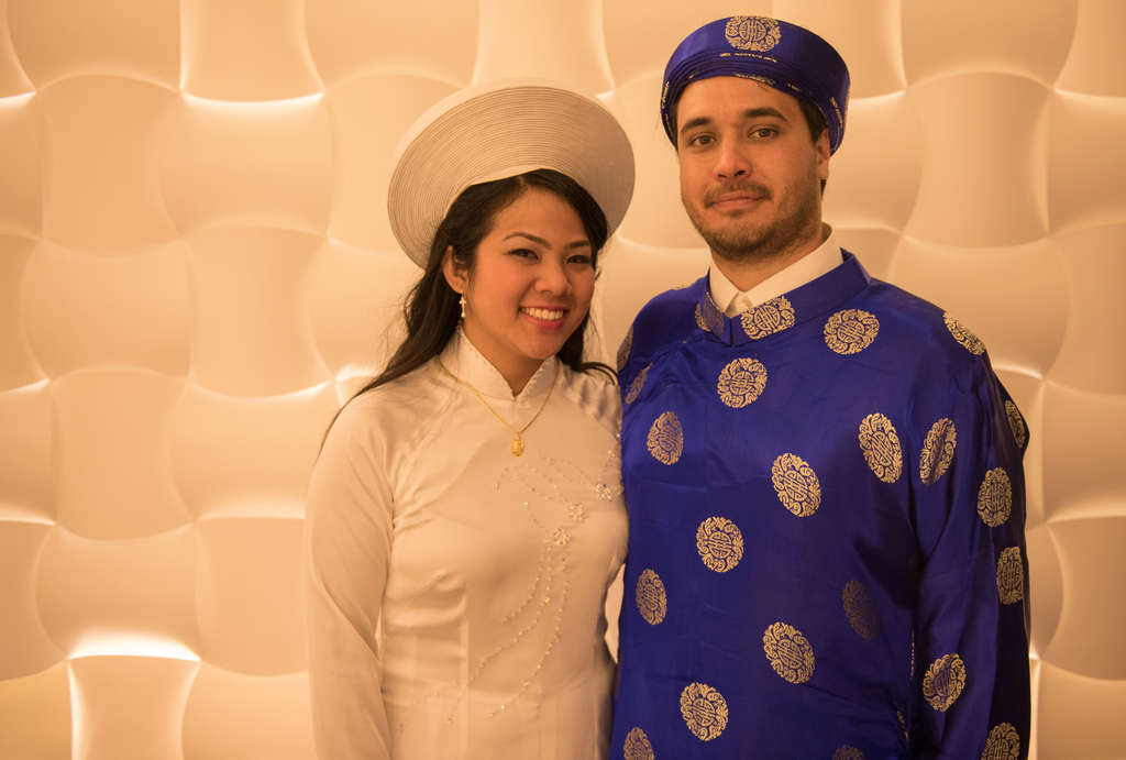 Anne Nguyen and David Torres in traditional Vietnamese wedding garb.