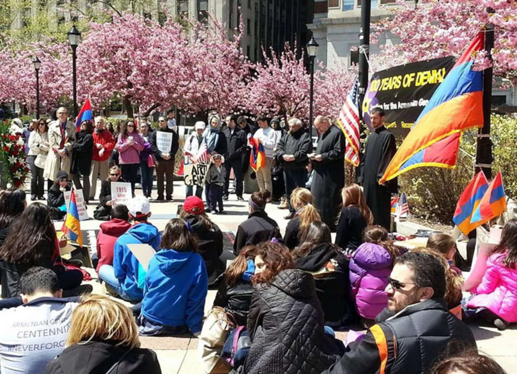 Protesters stage a 100-minute silent sit-in at LOVE Park on Friday to mark 100 years since the genocide of Armenians at the hands of the Ottoman Empire during World War I.