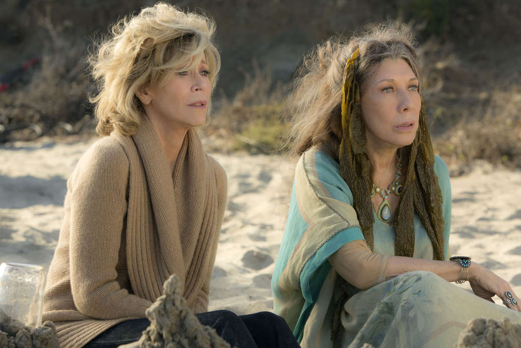 "In ""Grace and Frankie,"" Jane Fonda (left) and Lily Tomlin play frenemies whose husbands run off with each other."